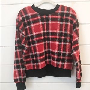 Red plaid Pullover Sweatshirt NWT